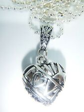 ANTIQUE SILVER 'LOVE' HEART ON A  26'' SILVER PLATED BALL CHAIN ORGANZA GIFT BAG