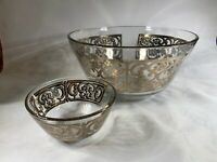 Vintage Georges Briard Mid Century Modern Chip and Dip Bowl Set Silver b354