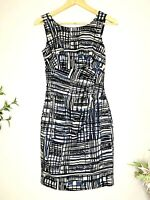 JACQUI E Blue White Black Abstract Print Size 6 Fitted Lined Pencil Midi Dress