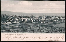 HUGHESVILLE PA Antique Town View Postcard Vtg Birds-Eye Aerial Corn Field PC