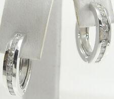 """14K Plumb Solid White Gold Diamond Huggie Earrings Hoop 0.50 TCW 5/8"""" Dia Estate"""