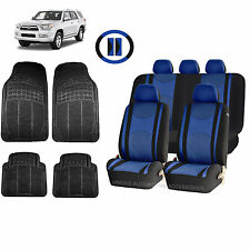 BLUE & BL HONEYCOMB SEAT COVERS AIRBAG READY SPLIT BENCH MATS FOR SUVS 1548