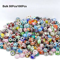 50/100Pcs Mixed Bulk Murano Glass Charm Spacer Beads For Bracelets Wholesale NEW