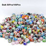 50/100Pcs Mixed Bulk Murano Glass Charm Spacer Beads For Bracelets Wholesale