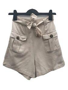 Ex WAREHOUSE Linen Mix High Waisted Elastic Tie Waist Beige Shorts Size 6-18