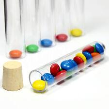 100x Kunststoff Reagenzgläser Reagenzglas mit Korken 100x21 / Geeignet für M&Ms