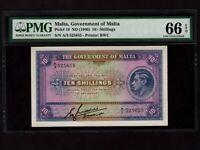 Malta:P-19,10 Shillings,1940 * King George VI * PMG Gem UNC 66 EPQ *
