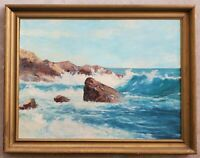 MARIE HAFENECKER (Monroe, New York) Vintage Seascape Coast Original Oil Painting
