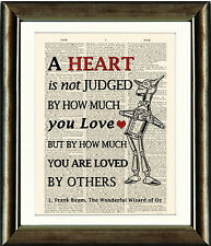 ANTIQUE BOOK PAGE ART PRINT - TIN MAN HEART QUOTE 1 - WIZARD OF OZ Wall Art