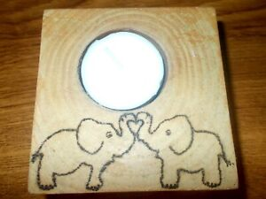 New Handmade Wooden Tealight Holder With Elephant Motif