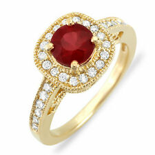 Estate ring 1.20 ct natural ruby and diamond 14k gold