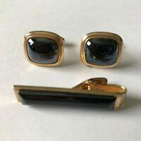 Vintage Faux Black Onyx and Diamond Cut Illusion Center Goldtone Tie Chain Diamontine