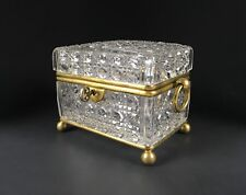 Antique Exquisite French Cut Crystal Bronze Ormolu Casket Jewelry Box