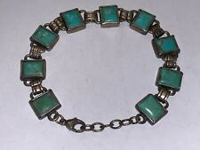 "Beautiful Doug Paulus Sterling Silver Multiple TURQUOISE Stones  Bracelet 8"" L"