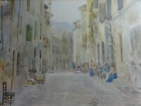 Antique Original Watercolour Painting of Italy lace makers Edward Renard signed