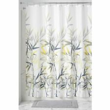Modern White/Yellow Leaves Bathroom Fabric Shower Curtain 72x72 Machine Washable