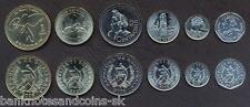 GUATEMALA COMPLETE COIN SET 1+5+10+25+50 Centavos +1 Quetzal 2000-2007 UNC LOT 6