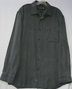 Nat Nast men's long sleeve button front silk/cotton blend shirt size large