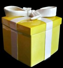 "Vintage Fitz & Floyd Ff Yellow Gift Present Trinket Box White Bow 6""x6.75"" 6.5""T"