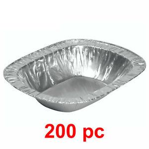 200x Foil Pie Rectangular Aluminium Dish Pies Steak Disposable Baking 10.5 x 7cm