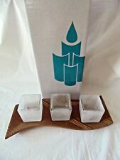Glazed Tray & 3 Votive Tealight Cup Candle Holder Tray ~ Partylite Retired P7433