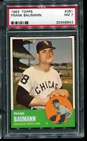1963 Topps Baseball #381 FRANK BAUMANN Chicago White Sox PSA 7 NM