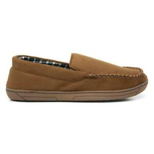 The Slipper Company Mens Brown Moccasin Slipper with Check Lining