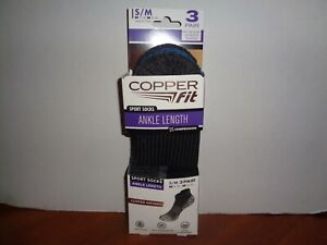 Copper Fit Infused Sport Ankle Socks 3 Pair Black S/M Size Men 5-9 Women 6-10
