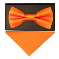 Plain Orange Hand Made Mens Bow Tie and Pocket Square Set Wedding Tie Pre Tied