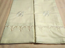 FRONTGATE 2 STD PILLOW CASES CREAM EMBROIDERY MONOGRAM B PORTUGAL