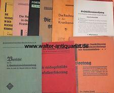 Konvolut 9 Schriften 1927-1937 Krankenversicherung Krankenkasse Unfallvers. ...