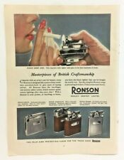 Genuine 1950's Colour Advert Ronson Lighters Adonis Whirlwind Banker Print Ad