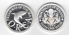 SEALAND PRINCIPALITY RARE SILVER PROOF 1 DOLLAR COIN 1994 YEAR ORCA WHALE X#9