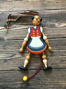 Vintage Austrian Girl Jumping Jack Pull Toy Wooden Doll