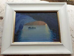 lovely atmospheric old oil painting of grotto or sea cave from italy