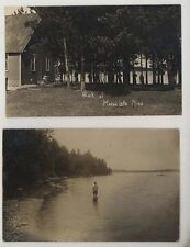2 1914 Moose Lake MN Minnesota Park & Lake  RPPC