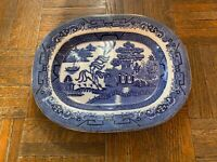 Vintage Large Blue Willow Platter Very Unique Mark