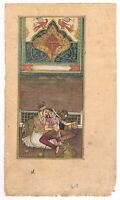 Handmade Indian Miniature Painting Of Mughal King And Queen On Paper Gouache Art