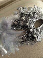 Black/silver  Lace  Mask . Mascarade Or Ball Tie On Mask . Fancy Dress Mask