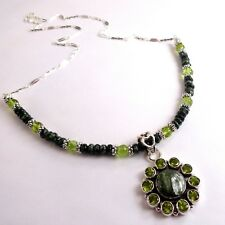 JFTS, Green, Seraphinite, Peridot, Bead, Necklace, Pendant, Gift, Mom,Wife, 18""