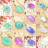 Oval Natural Solar Druzy Quartz 24k Gold Plated Pendant Chain Necklace Jewelry