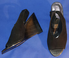NEW Next Black Suede Peep Toe Wedge Heel Calf Strap Shoes - Size 8