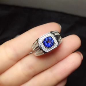 14K White Gold Finish 3Ct Round Cut Blue Sapphire Solitaire Engagement Ring