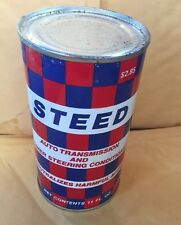 VINTAGE STEED TRANSMISSION & POWER STEERING  FULL 11 OZ GAS OIL DISPLAY CAN