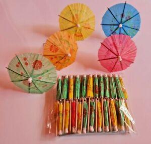 24 Umbrella Cocktail Sticks Drink Parasols Umbrellas