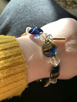 Jewelcity Clear Blue Gold Glass Bead Bracelet Stretchy Costume Sparkly Pebble