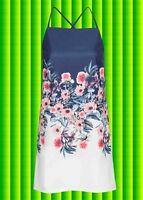 G308✪ Hippie Kleid mit Blumen Festival mit gekreuzten Trägern dunkelblau Gr 42