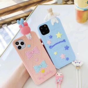 Cartoon cute My Melody Dog strap Rubber case Cover for iPhone 11 Pro Max XS 7 8+