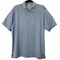 Adidas Climalite Golf Polo Shirt Gray Striped Polyester Spandex Mens Size Medium