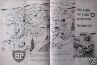 PUBLICITÉ 1958 BP VOICI LA ROUTE VERT ET JAUNE DE JEAN BELLUS - ADVERTISING